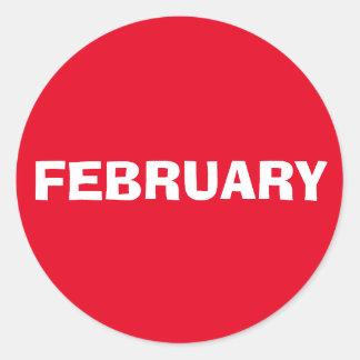 Etiqueta vermelha de improviso de fevereiro por