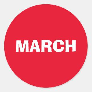 Etiqueta vermelha de improviso de março por Janz