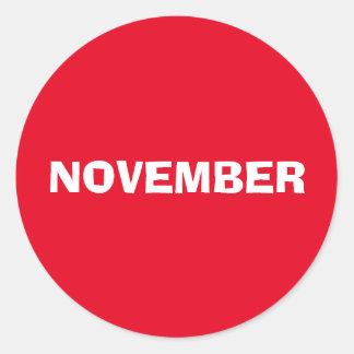 Etiqueta vermelha de improviso de novembro por