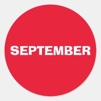 Etiqueta vermelha de improviso de setembro por
