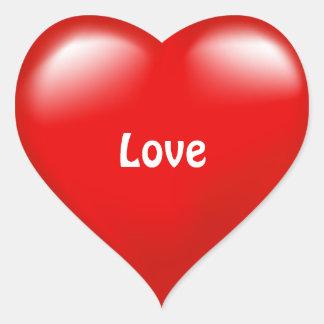 Etiqueta vermelha do amor do coração do dia dos adesivo coração