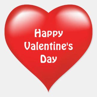 Etiqueta vermelha do amor do coração do feliz dia adesivo coração