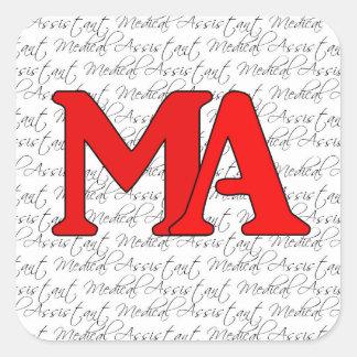 Etiqueta vermelha do assistente médico adesivo quadrado