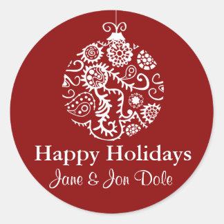 Etiqueta vermelha do presente de feriados do Natal Adesivo