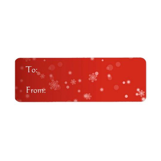 Etiqueta vermelha - flocos de neve etiqueta endereço de retorno