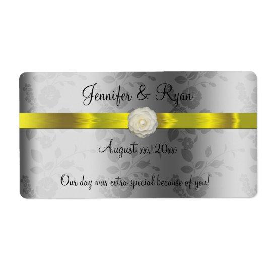 Etiqueta Vinho do casamento, amarelo e de prata elegantes,