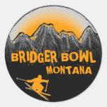 Etiquetas alaranjadas do esquiador de Montana da Adesivo Em Formato Redondo
