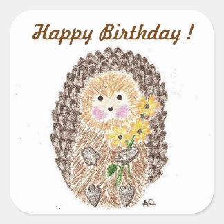 Etiquetas alegres do aniversário do ouriço adesivo quadrado