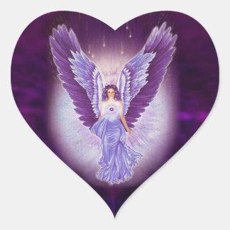 Etiquetas Amethyst violetas do coração do anjo Adesivo Coração