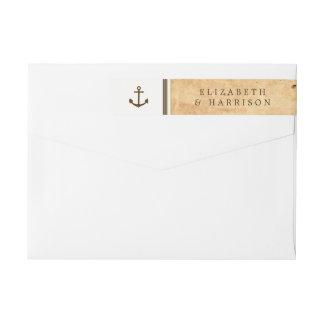Etiquetas Âncora náutica casamento de papel quadro do