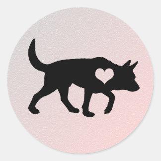 Etiquetas australianas do coração do cão do gado adesivo