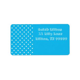 Etiquetas azuis das bolinhas da festa na piscina etiqueta de endereço