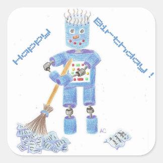 Etiquetas azuis do aniversário do robô adesivo quadrado