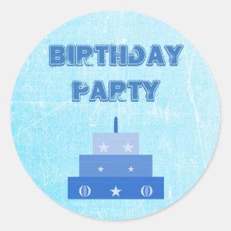 Etiquetas azuis do bolo da festa de aniversário adesivo
