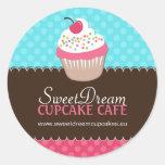 Etiquetas bonitos decorativas do frasco do cupcake adesivo em formato redondo