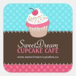 Etiquetas bonitos decorativas do frasco do cupcake adesivo em forma quadrada