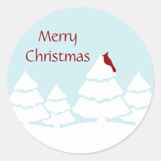 Etiquetas cardinais do Feliz Natal Adesivo
