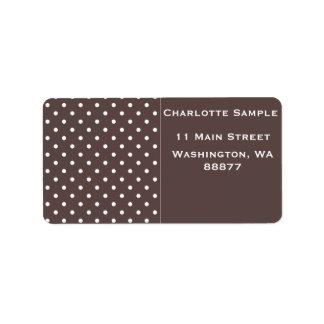 Etiquetas castanho chocolate do dot address da etiqueta de endereço