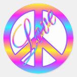 Etiquetas coloridas do sinal do amor e de paz adesivos em formato redondos