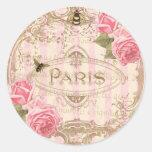 Etiquetas cor-de-rosa chiques de Tre Paris ou Adesivos Em Formato Redondos