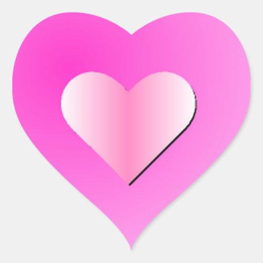 Etiquetas cor-de-rosa do coração adesivo em forma de coração