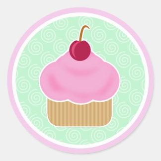 Etiquetas cor-de-rosa do cupcake de Kawaii da cere Adesivos Redondos