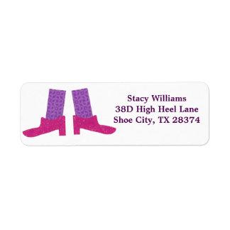 Etiquetas cor-de-rosa dos calçados etiqueta endereço de retorno