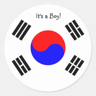 Etiquetas Coreia do Sul do anúncio da adopção, men Adesivo Em Formato Redondo