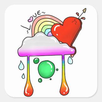 etiquetas da colagem do amor adesivo quadrado
