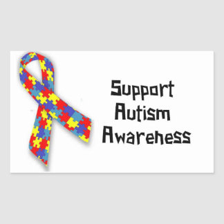 Etiquetas da consciência do autismo do apoio adesivo retangular