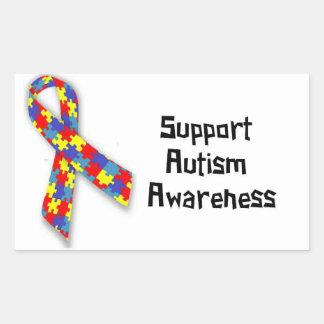 Etiquetas da consciência do autismo do apoio adesivo em forma retangular