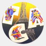 Etiquetas da etiqueta de Paris do destino Adesivo Em Formato Redondo