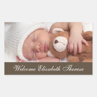 Etiquetas da foto do anúncio do nascimento adesivo em forma retangular