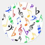 Etiquetas da música das notas musicais - multi adesivos redondos