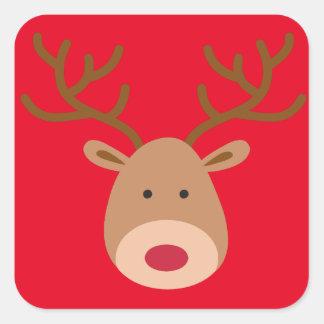 Etiquetas da rena do Natal - folha de 20 Adesivo Quadrado