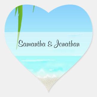 Etiquetas dadas forma coração da praia/oceano adesivo coração