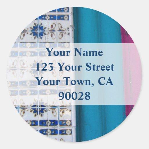 Etiquetas de endereço abstratas do azulejo adesivos em formato redondos