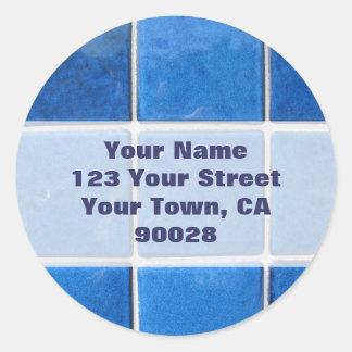 etiquetas de endereço azuis do azulejo adesivo