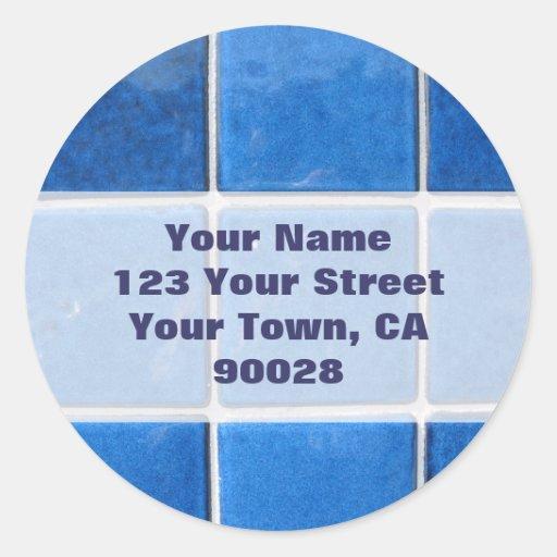 etiquetas de endereço azuis do azulejo adesivos redondos
