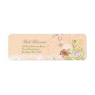 Etiquetas de endereço chiques do laço das flores