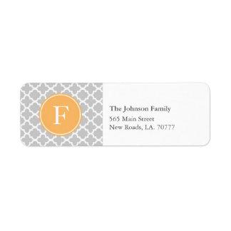 Etiquetas de endereço cinzentas e alaranjadas do etiqueta endereço de retorno