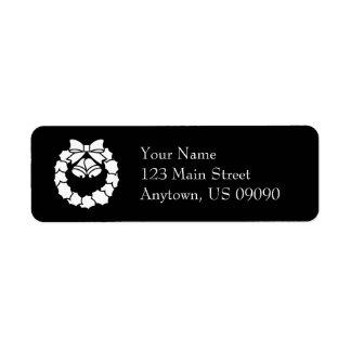 Etiquetas de endereço da grinalda do Natal (preto) Etiqueta Endereço De Retorno