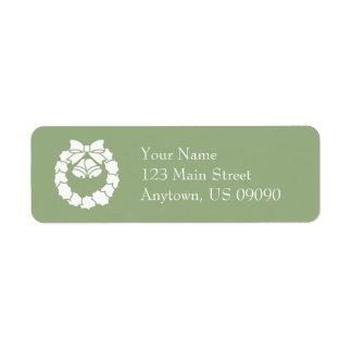 Etiquetas de endereço da grinalda do Natal (verde Etiqueta Endereço De Retorno