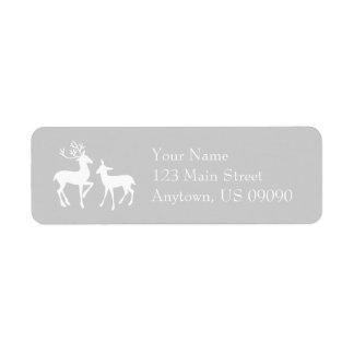 Etiquetas de endereço da rena (prata)
