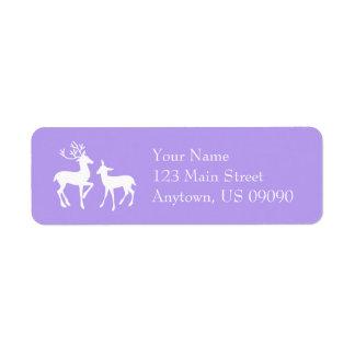 Etiquetas de endereço da rena (roxo violeta) etiqueta endereço de retorno