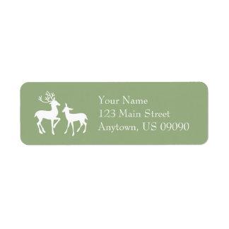 Etiquetas de endereço da rena (verde prudente) etiqueta endereço de retorno