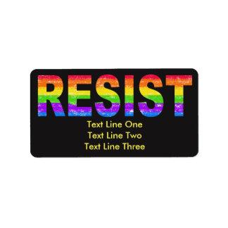 Etiquetas de endereço da resistência do orgulho do