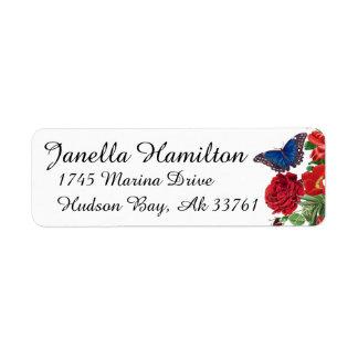 Etiquetas de endereço das flores dos rosas da