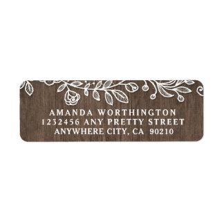 Etiquetas de endereço de madeira do casamento do etiqueta endereço de retorno