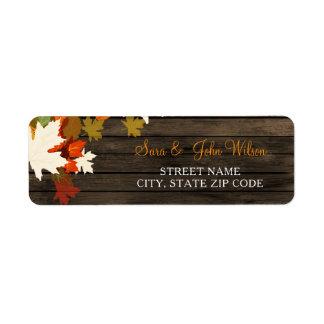 Etiquetas de endereço de madeira do casamento etiqueta endereço de retorno